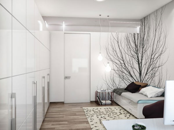 spacious modern ukranian apartment 11 – small white bedroom decoration