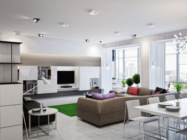 spacious modern ukranian apartment 2 contemporary living room Luxurious Apartment in Ukraine Showcases sleek organization and stylish design