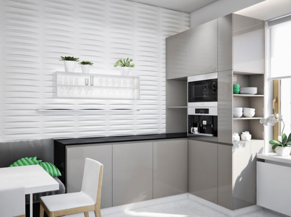 Luxurious apartment in ukraine showcases sleek organization and stylish design - Modern kitchen for small apartment ...