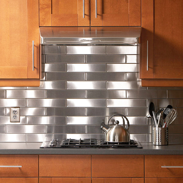 12 unique kitchen backsplash designs stainless steel backsplash amp metal mosaic tile