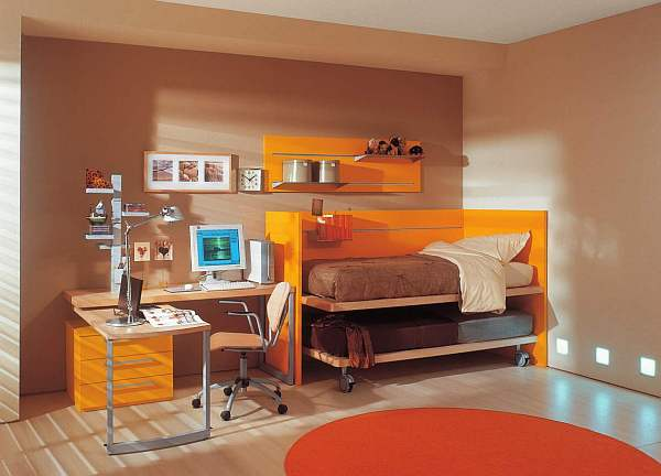 teenage rooms with orange bunk bed