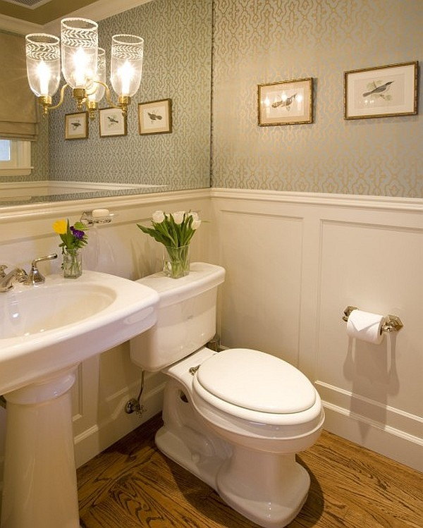 Guest bathroom powder room design ideas 20 photos for Small washroom design ideas