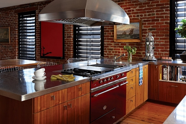 traditional winter kitchen with dark woods and color