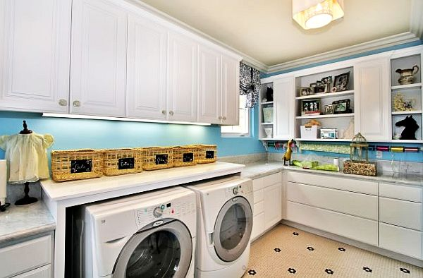 white and blue laundry room design 10 Things Youll Love About Your Laundry Room