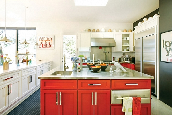 white and red kitchen design for art lovers