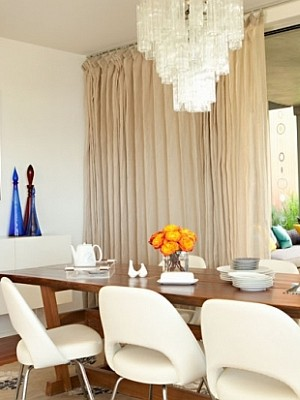 white dining room with modern elements