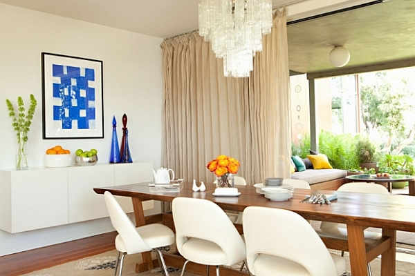 White Dining Room With Modern Elements Dining Room Decorating Ideas