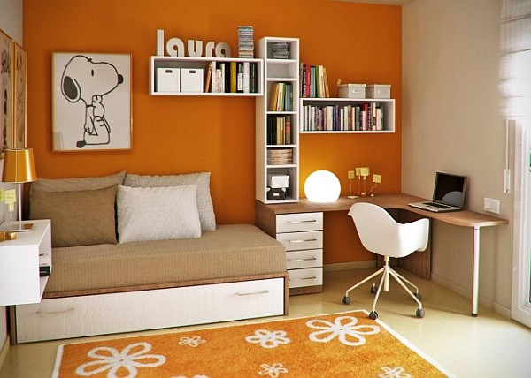 young childs room - orange walls, white and wooden accents furniture