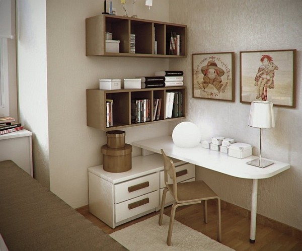 young teen room - neutral colors, charming furniture