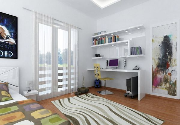 young teen room - white furniture decor and colored accessories