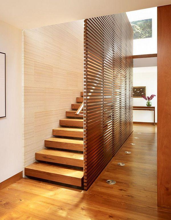 33 Street Residence – Manhattan Beach, California 8 — wooden panel staircase