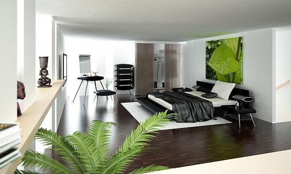 Asian inspired elegant bedroom design