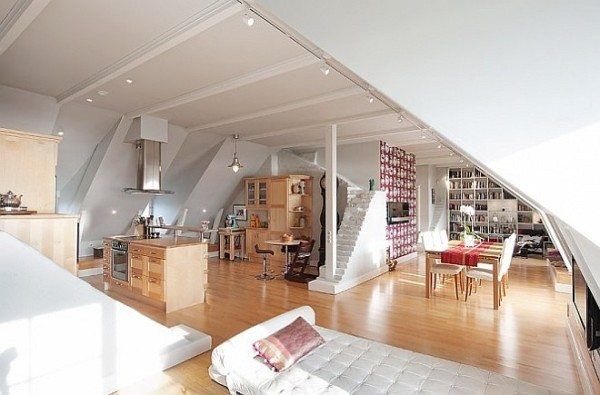 Attic Apartment Decoration 1 living room 600x395 Stockholm Attic Apartment Charms with Its Steep Ceilings