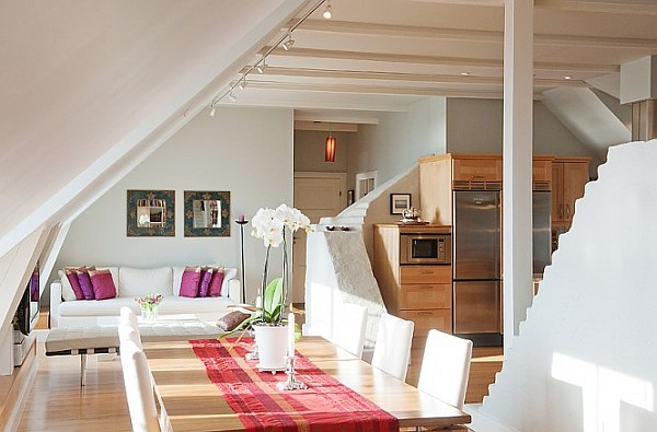 Stockholm Attic Apartment Charms With Its Steep Ceilings