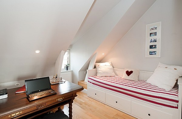 Attic Apartment Decoration 13 – teenage red and white guest bedroom