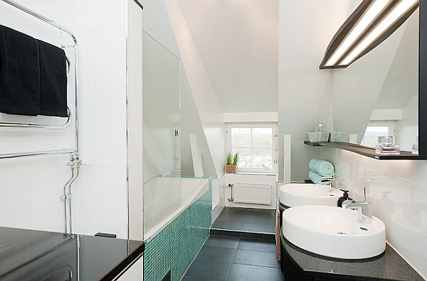 Attic Apartment Decoration 15 – black and white bathroom with green tiles