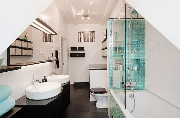 Attic Apartment Decoration 16 – black and white bath with turqoise shower tiles