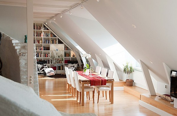 Attic Apartment Decoration 5 – white red dining room & reading nook