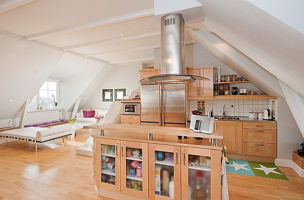 Attic Apartment Decoration 8 - beech wooden kitchen design with glass fronted panels