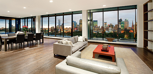 Clarendon Penthouse - huge contemporary living room with large windows and city views