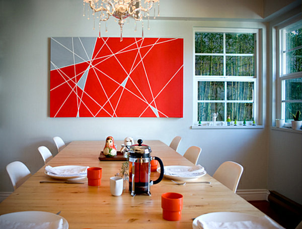 diy geometric painting in the dining room - Diy Bedroom Painting Ideas