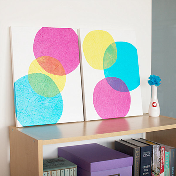 DIY tissue paper wall art