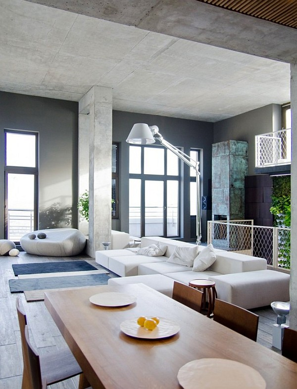 Industrial Loft Apartment 1 living room design Contemporary Loft in Kiev Stuns with Industrial Design