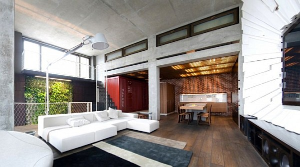 Industrial Loft Apartment 10 – high ceiling large living room area