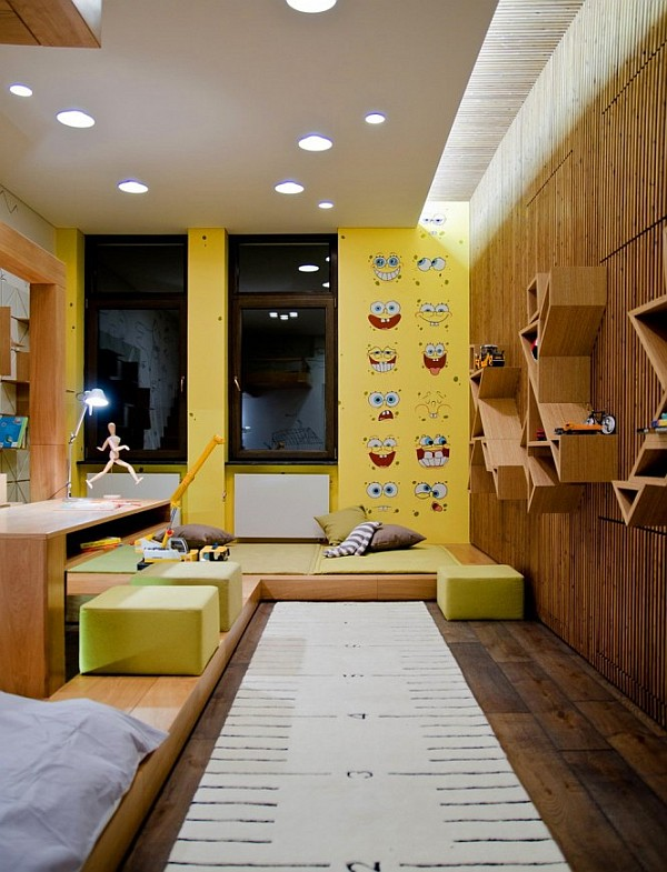 Industrial Loft Apartment 16 – kids bedroom with wooden walls and colorful furniture