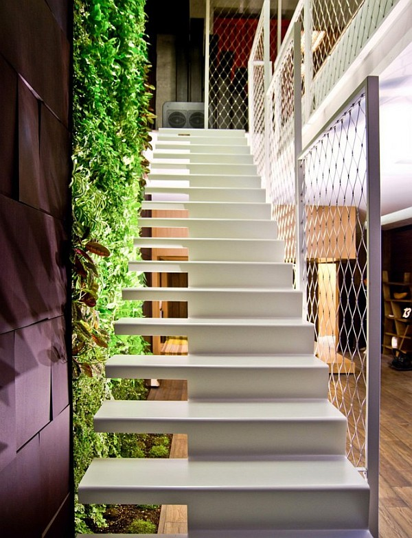 Industrial Loft Apartment 18 – white staircase design