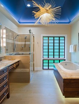 Luxury Japanese bathroom - zen blue design