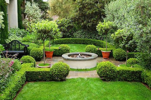 Mediterranean green and lush garden design with detailed for Green landscape design