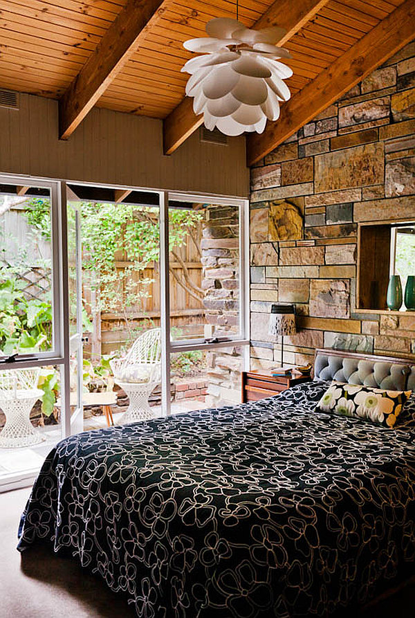 Melbourne vintage house 9 – master bedroom with stone walls and courtyard view