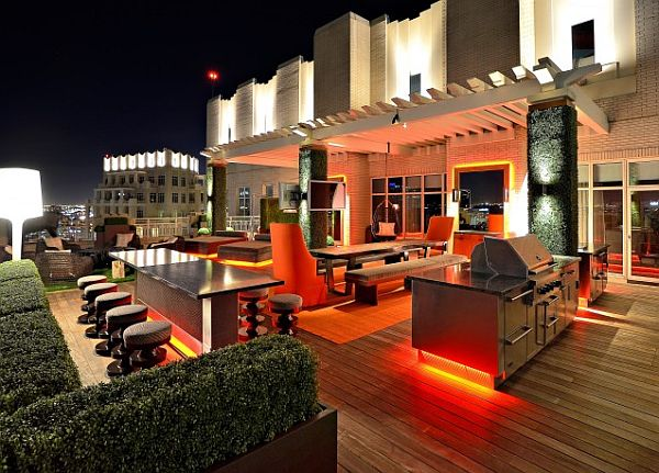 Modern Rooftop Garden with Island bar table and red lighting Easy Tips for Outdoor Entertaining