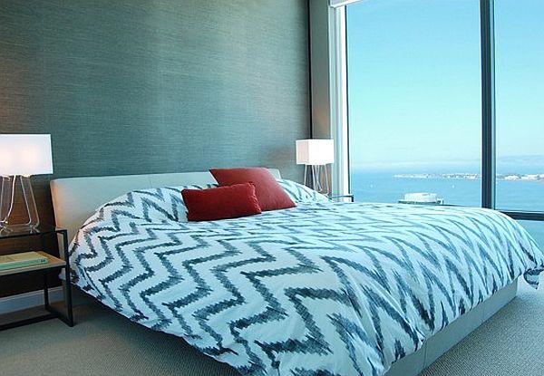 Modern bedroom with grasscloth wallpaper