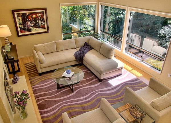 Good ... Tufenkian Purple Carpet In Modern Living Room