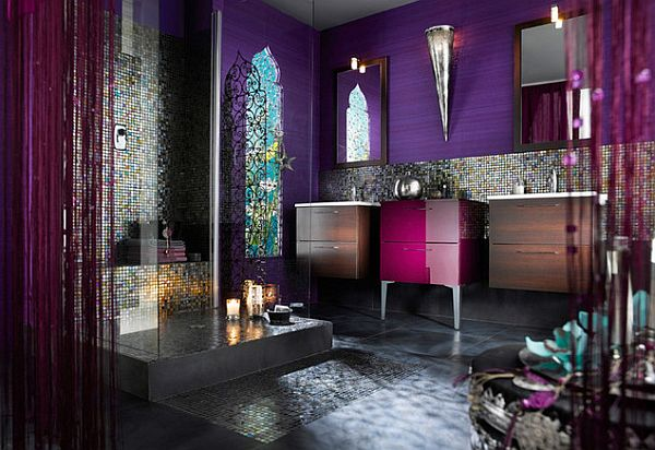 Moroccan-Luxury-Bathroom-with-Purple-Glossy-Furniture