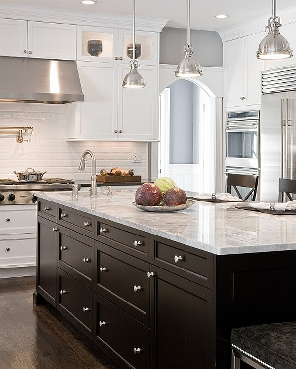 White kitchen cabinets with dark island for Black and white kitchen cabinet designs