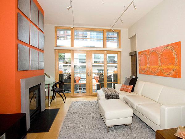 Neon furnishings in swanky modern loft