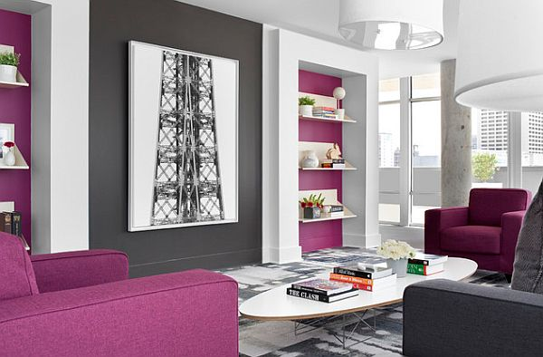 How to decorate with purple in dynamic ways Grey and purple living room