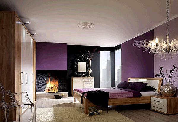 Purple luxury bedroom with grey walls and fireplace Soak up Some Ultra Violet Rays: How To Decorate With Purple In Dynamic Ways