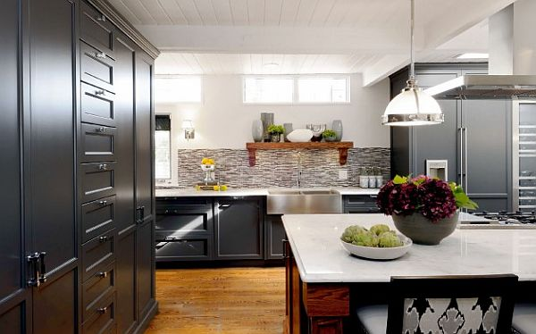 Sask Cres Kitchen with black cabinetry