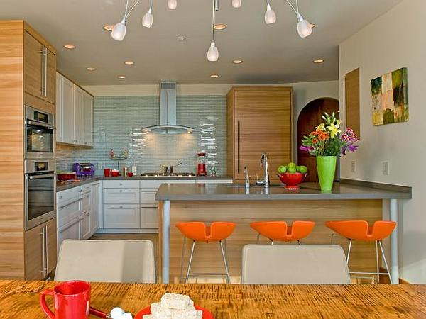 Sleek modern kitchen with neon colors and modern bar stools Implementing Neon Colors Tastefully: 17 Design Ideas