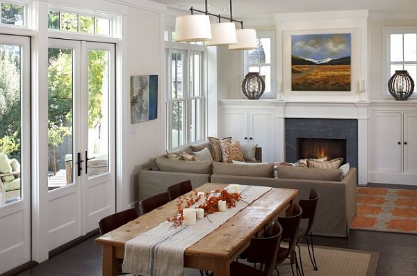 Space layout living dinner with fireplace and built in cabinets Tips for Entertaining in a Small Space