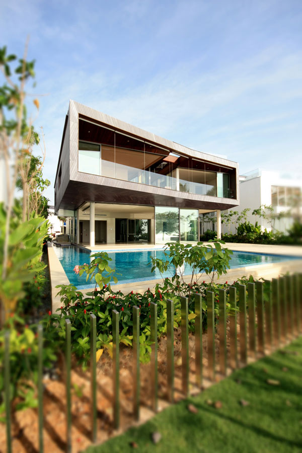 Stereoscopic House Singapore 1 glass windows house with suspended volume Weekend Retreat With Sustainable Features And Savvy Design