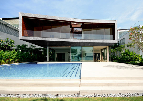 Stereoscopic House Singapore 2 villa with translucent base and stylish pool Weekend Retreat With Sustainable Features And Savvy Design