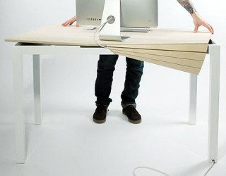 Sleek Tambour Table Promises to Keep Clutter Away from Your Desk