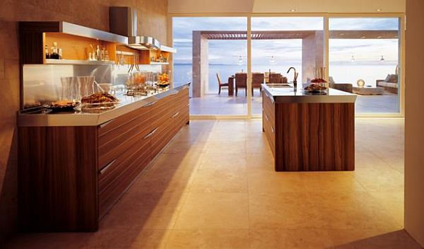 Teak wood contemporary kitchen with box shelving units