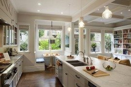awesome breakfast nook in contemporary white kitchen decor