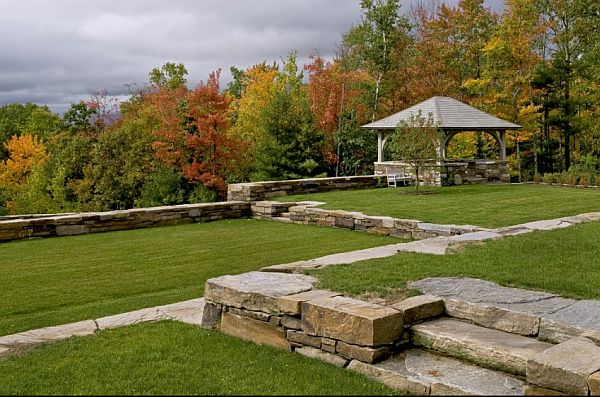 backyard lawn with stone stairs